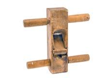 Vieil outil en bois de planeuse d'isolement sur le fond blanc Image stock
