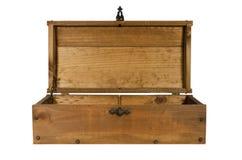 Vieil ouvert en bois de coffre d'isolement Photographie stock