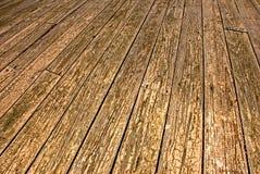 Vieil étage en bois de patio Photographie stock libre de droits