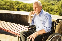 Vieil un homme seul et sombre s'assied dans un fauteuil roulant dans l'allée de parc Photo libre de droits