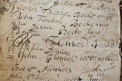 Vieille écriture de manuscrit Photographie stock libre de droits
