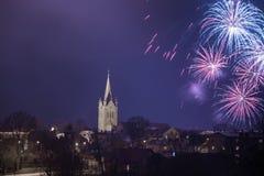 Vieille église dans Cesis, Lettonie Bâtiments historiques et ville Photographie stock