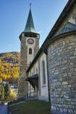 Vieille église dans la station de vacances de Zermatt, canton du Valais Images libres de droits