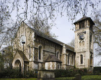 Vieille église de rue Pancras Image stock