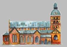 Vieille église de ville illustration de vecteur
