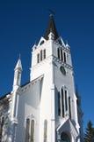 Vieille église en bois blanche sur l'île de Mackinac Image libre de droits