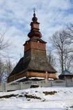 Vieille église en bois traditionnelle d'Ukraine occidentale Photographie stock libre de droits