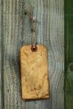 vieille étiquette de papier de chaîne de caractères de frontière de sécurité en bois Image stock