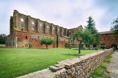 Vieille abbaye gothique - abbaye de San Galgano, Toscane, Italie images libres de droits