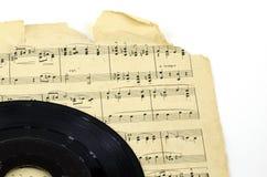 Vieille affaire d'enregistrement de musique de feuille Photo stock