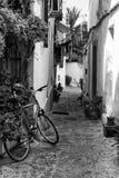 Vieille allée méditerranéenne typique entre de vieilles maisons avec l'abn de vélo Photo libre de droits