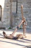 Vieille ancre sur Poole Quay Photos stock