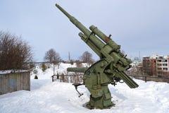 Vieille arme à feu antiaérienne de la deuxième guerre mondiale Image libre de droits