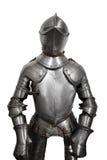 Vieille armure de chevalier en métal sur le fond blanc Images stock