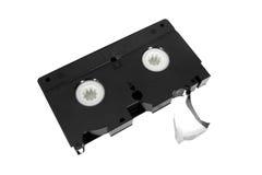 Vieille bande vidéo en cassettes inutilisable de VHS images libres de droits