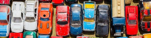 Vieille bannière de Web de Toy Cars Panoramic image stock