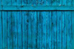 Vieille barrière en bois bleue Image libre de droits