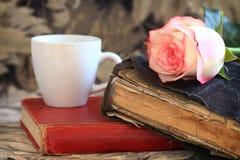 Vieille bible et Rose rose photos libres de droits
