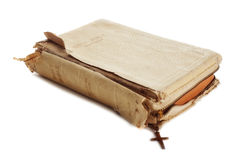 Vieille bible sainte usée Photo stock
