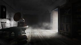 Vieille bibliothèque poussiéreuse Photo libre de droits