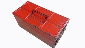 Vieille boîte à outils en acier rouge d'isolement Image libre de droits