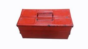 Vieille boîte à outils en acier rouge d'isolement Photographie stock