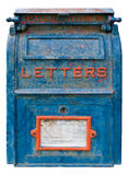 Vieille boîte aux lettres bleue Images stock