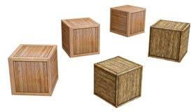 Vieille boîte en bois d'isolement sur le fond blanc, rendu de d illustration libre de droits