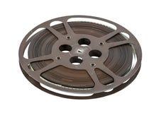 Vieille bobine de pellicule cinématographique de 16 millimètres d'isolement sur le blanc Image libre de droits