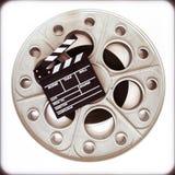 Vieille bobine originale de film pour le projecteur de film de 35mm avec le boa de clapet Images stock
