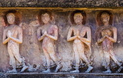 Vieille Bouddha image de quatre Photographie stock