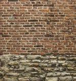 Vieille brique de cru et mur en pierre utilisé Images libres de droits