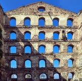 Vieille brique et murs en pierre, les ruines des bâtiments Fond Image libre de droits