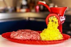 Vieille broyeur avec de la viande hachée Photo stock