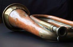 Vieille bugle battue Image libre de droits
