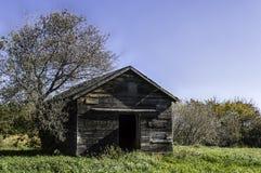Vieille cage de poulet abandonnée - porte ouverte Photo stock
