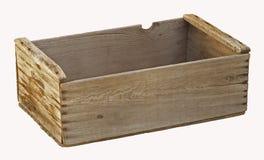 Vieille caisse en bois vide de verger d'isolement. photographie stock libre de droits