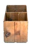 Vieille caisse en bois vide de verger d'isolement. image stock