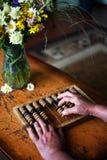 Vieille calculatrice en bois Photo libre de droits