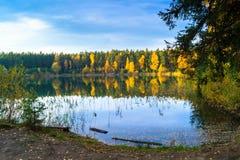 Vieille carrière de beau lac de forêt un jour clair d'automne photo libre de droits