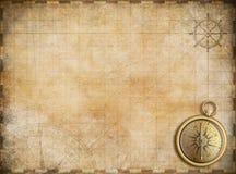 Vieille carte avec la boussole en laiton comme fond d'exploration illustration de vecteur