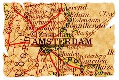 Vieille carte d'Amsterdam Image stock