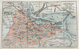 Vieille carte d'Amsterdam Images stock