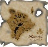Vieille carte d'Hawaï sur le parchemin Image libre de droits