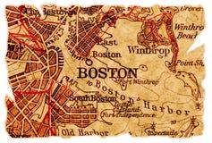 Vieille carte de Boston photographie stock libre de droits