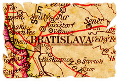 Vieille carte de Bratislava Images libres de droits