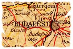 Vieille carte de Budapest Photographie stock libre de droits