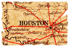 Vieille carte de Houston Photo stock