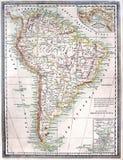 Vieille carte de l'Amérique du Sud Image stock