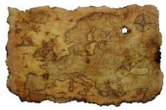Vieille carte de l'Europe sur le parchemin jauni photo stock